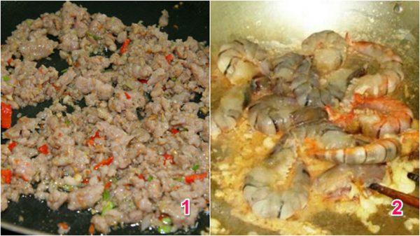 Đun sôi dầu cho thịt và tôm vào xào