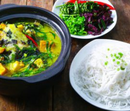 Món cá lóc om chuối xanh ngon đậm đà
