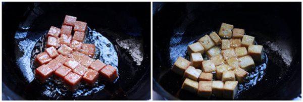 Chiên thịt heo hộp và đậu hũ