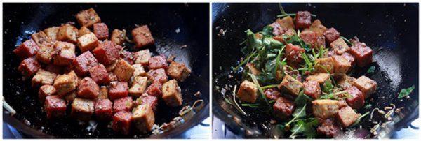 Xóc thịt heo hộp và đậu hũ