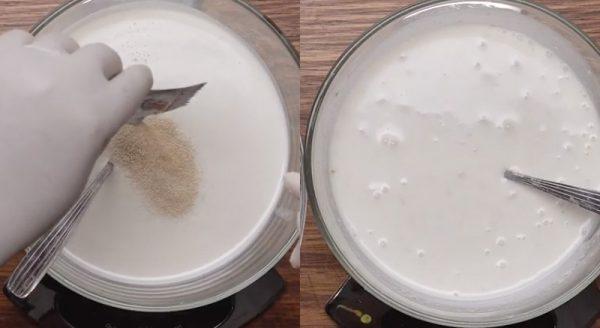 Trộn gói men khô với nước cốt dừa