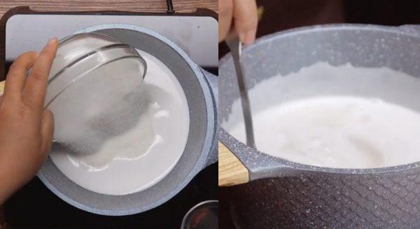 Nấu nước cốt dừa với đường