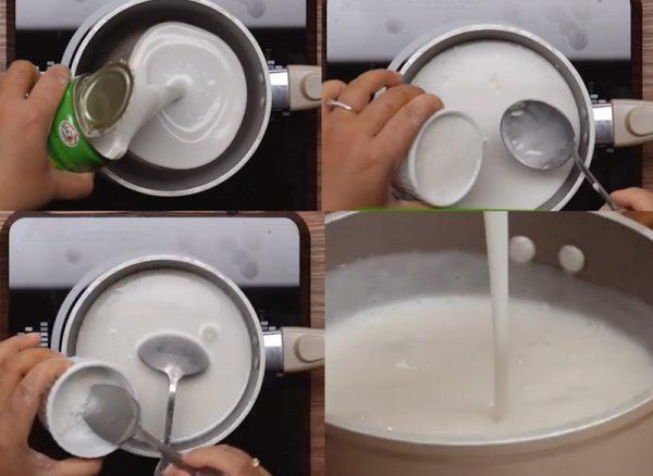 Nấu nước cốt dừa ăn kèm bánh