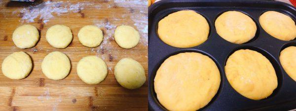 Ấn dẹt từng viên bột thành hình chiếc bánh