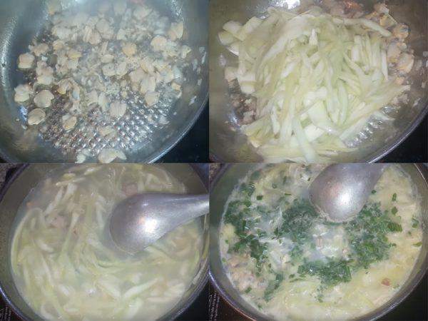 Nấu canh ngao với bầu