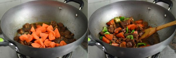 Cho thêm cà rốt vào và đun nhỏ lửa