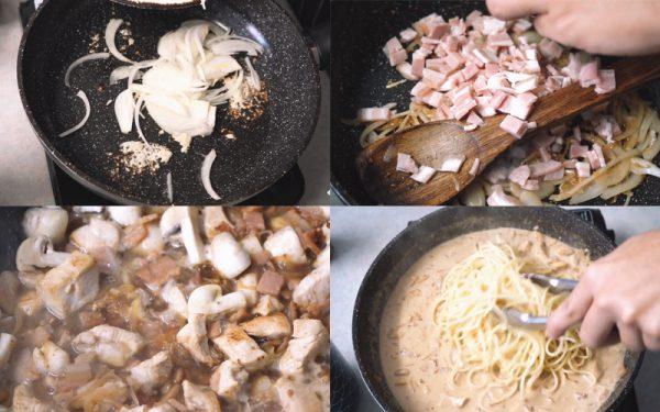 Thực hiện mì Ý sốt kem nấm
