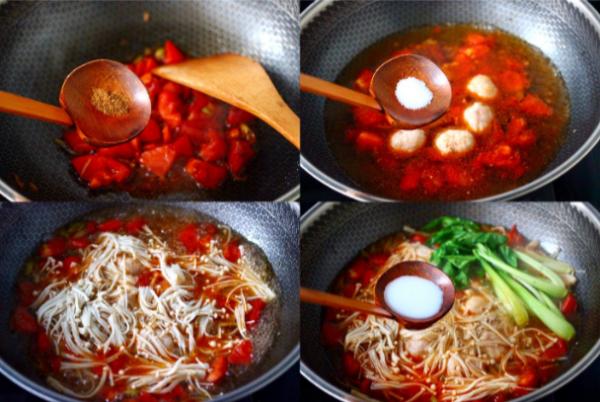 Đun nóng dầu cho các nguyên liệu vào nấu chín