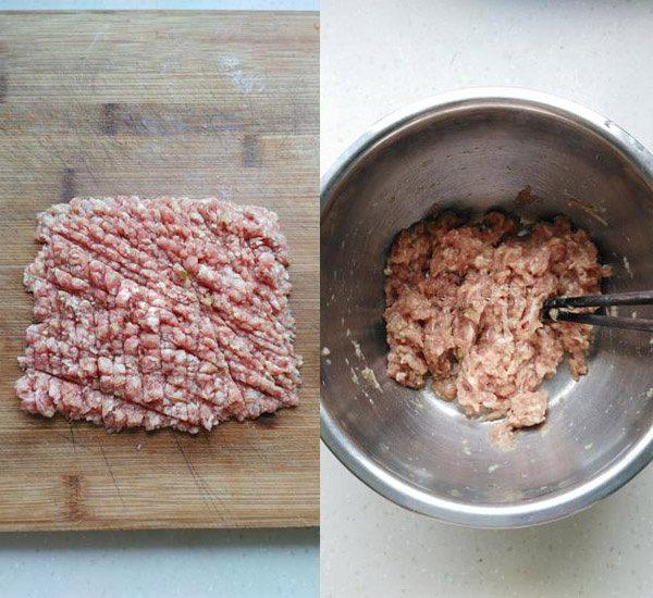 Thịt heo băm nhuyễn ướp cùng gia vị