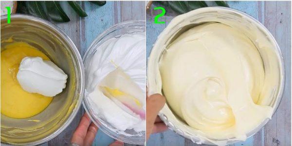 Lấy phần trứng được đánh bông trộn đều với hỗn hợp bột trứng