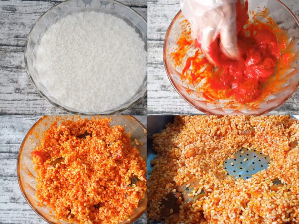 Trộn gạo nếp cùng các nguyên liệu rồi cho vào xửng hấp