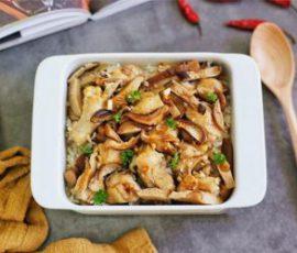 Món cơm gà hấp nấm vừa no bụng vừa đủ chất