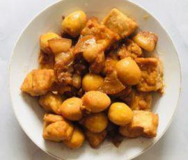 Món đậu hũ kho trứng cút thịt heo ngon tuyệt