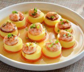 Món đậu hũ hấp tôm 3 lớp ngon thần sầu