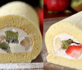 Món bánh bông lan cuộn kem tươi trái cây