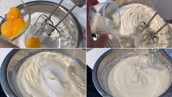 Làm hỗn hợp bột bánh