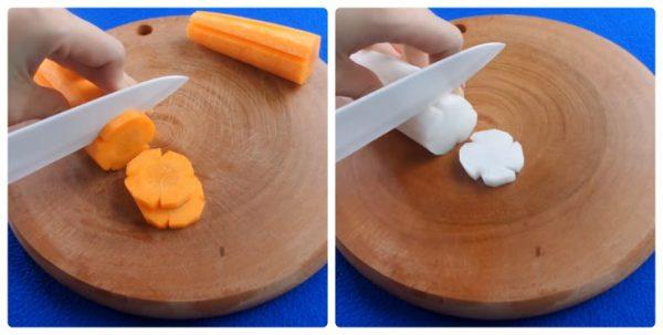 Củ cải và cà rốt cắt miếng vừa ăn
