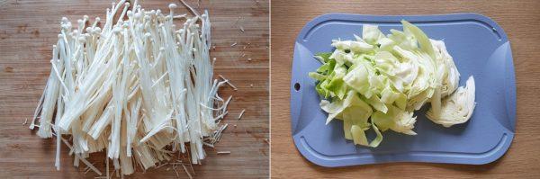 Sơ chế nấm kim châm và bắp cải