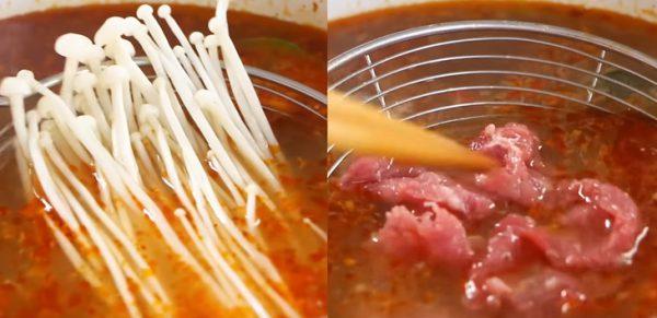 Trụng thịt bò và nấm kim châm
