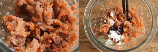 Cho cà rốt, tôm và thịt vào máy xay nhuyễn
