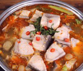 Món lẩu cá bớp béo mềm ngọt thịt mà không tanh