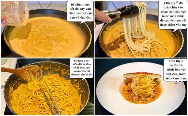 Cho mỳ Ý đã luộc chín vào chảo nước sốt và trộn đều