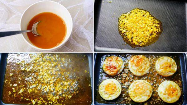 Hoàn thành trứng ốp sốt chua ngọt