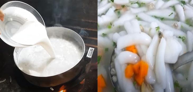 Nấu nước dùng ăn bánh canh hến