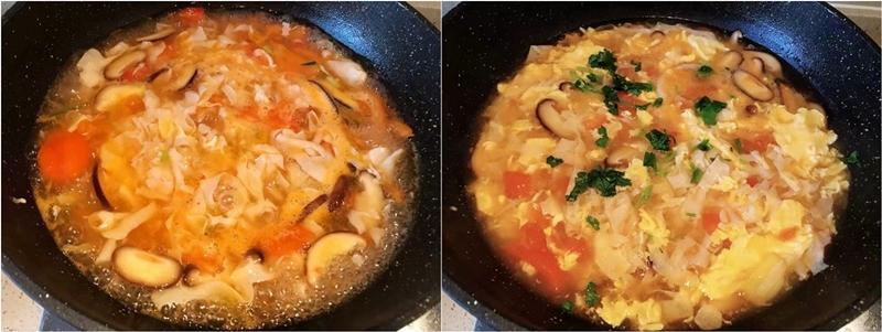 Cho phần bột bắp hòa tan và trứng vào khuấy đều rồi nêm lại gia vị