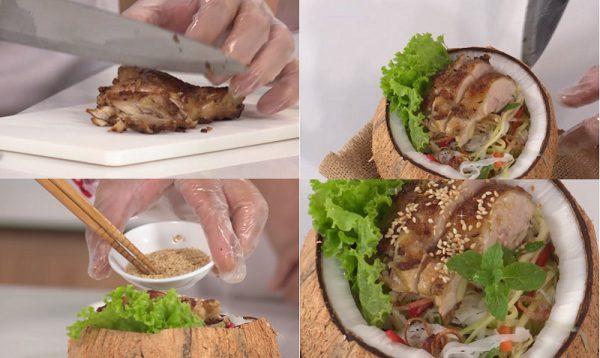 Thưởng thức gỏi gà