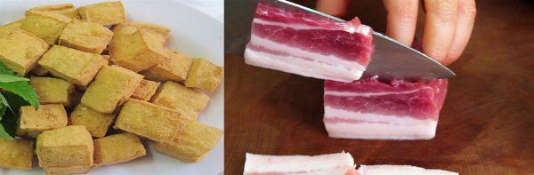 Sơ chế thịt và đậu hũ