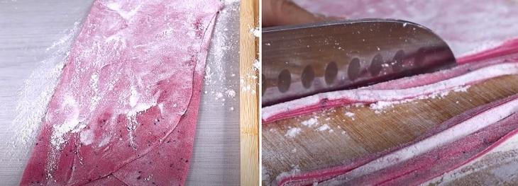 Cán bột rồi cắt thành sợi dài