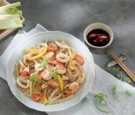 Món bún xào hải sản ngon miệng cho bữa trưa
