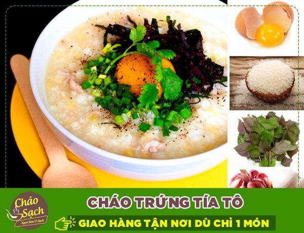 Cháo trứng rau tía tô