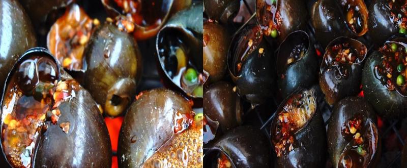 Khimiệng ốc có hơi bốc lênthì múc nước sốt tiêu xanh cho vào miệng ốc