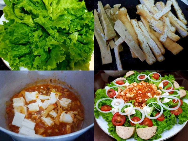 Thực hiện làm Salad trộn sốt cà chua chay