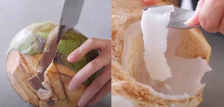 Sơ chế phần thịt dừa