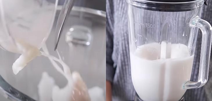 Cho phần dừa và vù sữa cùng đá đã chuẩn bị vào xay nhuyễn