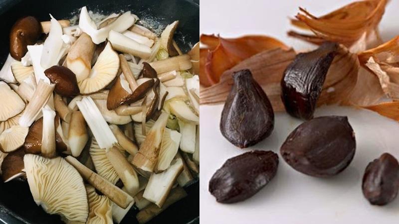 Đun nóng dầu xào thơm gừng rồi cho nấm và tỏi đen vào xào