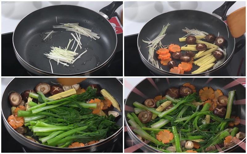 Xào rau cải ngồng với nấm