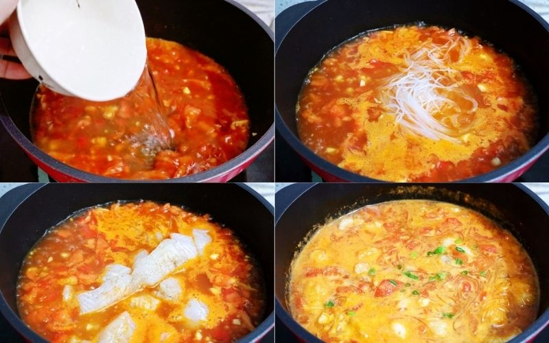 Cho thêm nước nóng và cá vào chảo miến đun chín