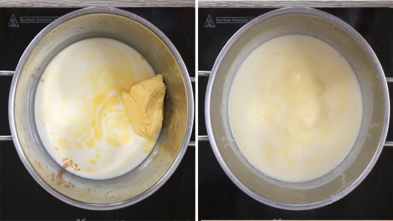 Đun phần vỏ bánh vào nồi đun sôi hỗn hợp