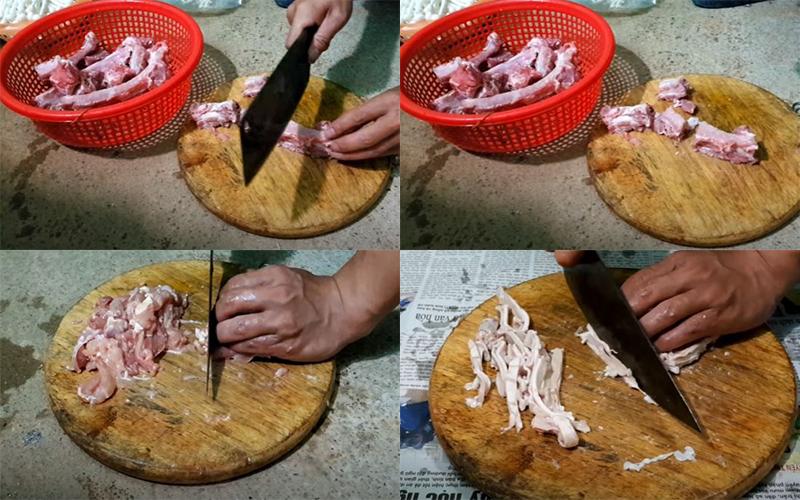 Chuẩn bị phần sườn, gà và dạ dày