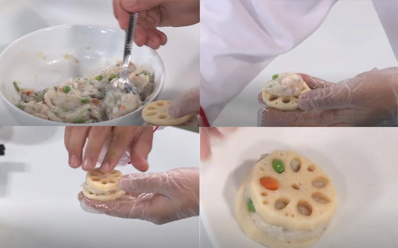 Đặtchả mực vào giữa 2 miếng củ sen và ép lại