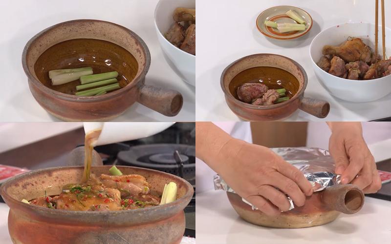 Nướng thịt vịt với nồi đất