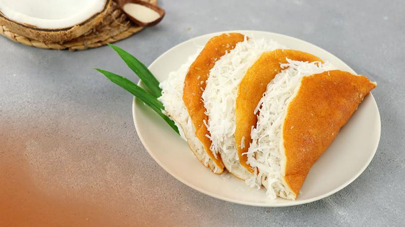 Món bánh bò dừa nướng với chảo chống dính