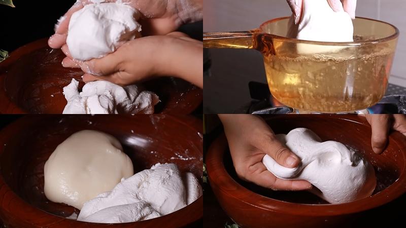 Nhào bột để làm phần vỏ bánh
