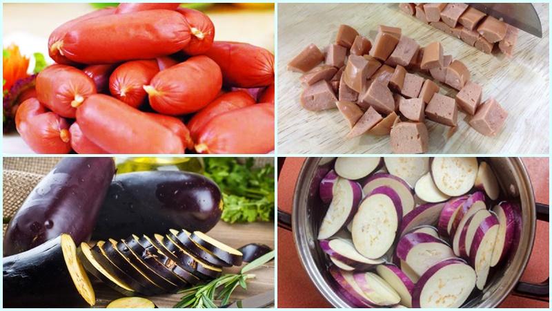 Chuẩn bị phần cà tím và xúc xích