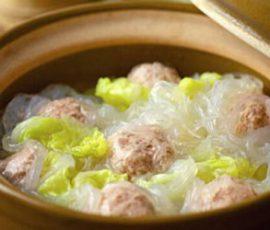 Món miến thịt viên nấu cải thảo ngon miệng thanh mát