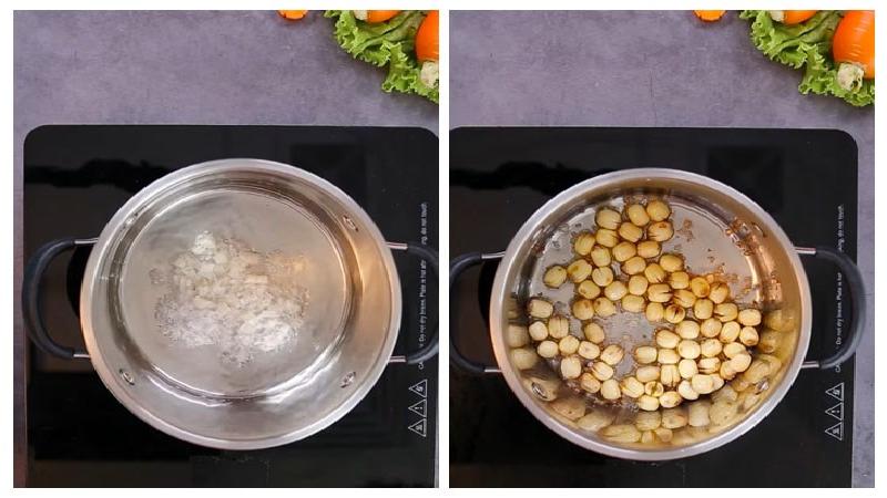 Phi thơm hành rồi cho hạt sen vào xào